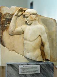 Relief self-crowning athlete or ephebe 460 BC, NAMA 3344 102610.jpg
