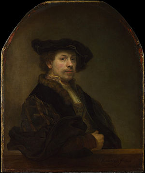 A Man with a Quilted Sleeve - Rembrandt Self-portrait at the age of 34, 1640 (also National Gallery)
