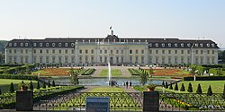 Ludwigsburg Palace and the Blooming Baroque gardens seen from the south garden in June 2006. In the center and background is the Neuer Hauptbau and in particular the Marble Hall
