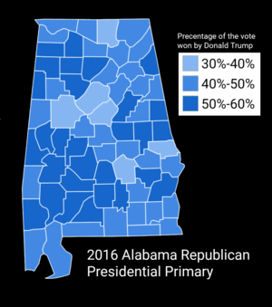 United States presidential election in Alabama, 2016 - Map showing the results of the 2016 Republican presidential primary in Alabama by county