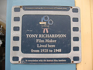 Tony Richardson - BFI plaque commemorating Richardson's contribution to cinema