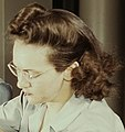Right face detail, Drilling a wing bulkhead for a transport plane at the Consolidated Aircraft Corporation1a34931v (cropped).jpg