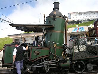 Vertical boiler - Swiss rack railway locomotive (built 1858)  for operating on the steep slopes of Rigi