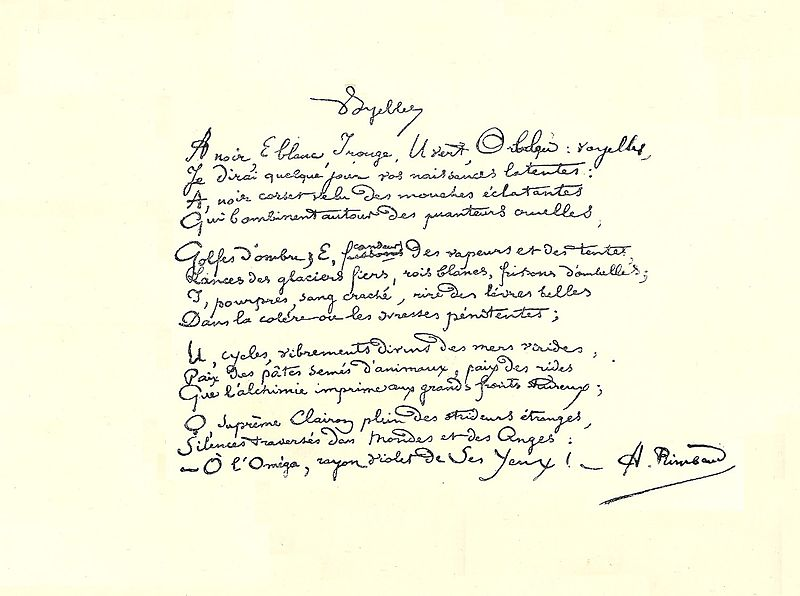 File:Rimbaud manuscrit Voyelles.jpg