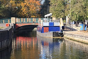 River Little Ouse - A restaurant boat at Thetford, giving the appearance that the river is navigable here.