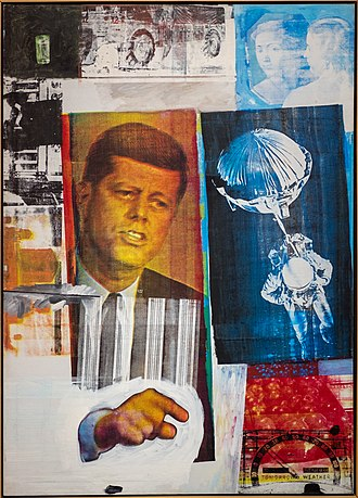 Late modernism - Robert Rauschenberg, 1963, Retroactive II; combine painting with paint and photos.