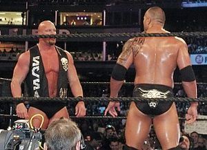 The Rock and Stone Cold Steve Austin at Wrestl...