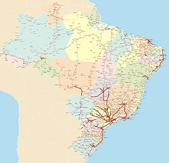 Brazilian Highway System - Road system in Brazil, with divided highways highlighted in red. The São Paulo state, which has state control of federal roads in its territory, makes its road network the best in the country.