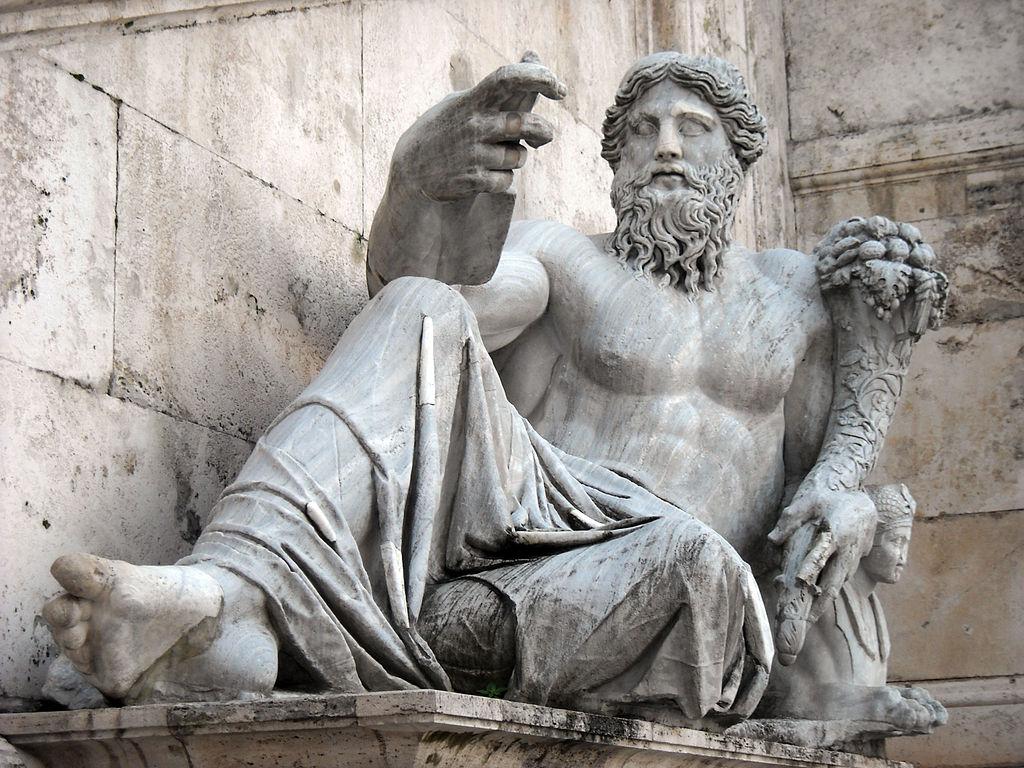 Statue du Nil sur la place du Capitole à Rome. Photo de Galzu