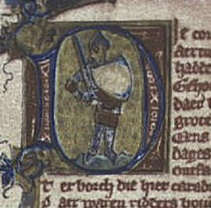 Roman de Fergus - Initial letter D: a knight standing on his feet holding a sword and a (white?) shield, in the 14th century (ca. 1330?) manuscript: Leiden, University Library, Ms. Letterkunde 191-1: Ferguut, a translation/adaptation of the Old French Arthurian romance Le Chevalier au Biel Escu, better known as the Roman de Fergus.