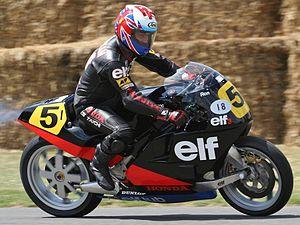 Ron Haslam - Haslam demonstrating the Elf Honda in 2013