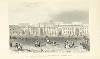Liverpool Lime Street railway station - A period depiction of the original Lime Street Station frontage circa 1839