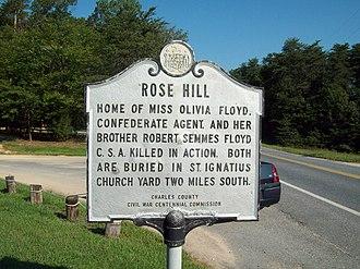 Rose Hill (Port Tobacco, Maryland) - Image: Rose Hill Marker 1 Sept 09