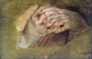 "English: Oil painting, ""Praying Hands&quo..."