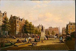 Reguliersplein (thans Thorbeckeplein) in 1869, met op de achtergrond de Botermarkt (thans Rembrandtplein)
