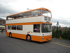Transport for Greater Manchester - A preserved SELNEC-branded Leyland Atlantean bus at the Manchester Museum of Transport in October 2008