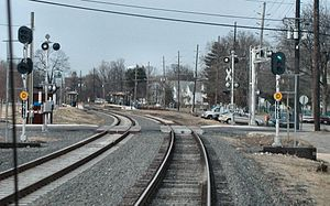 Delanco (River Line station) - Looking south at the station from the Coopertown Road/Cooper Street grade crossing.