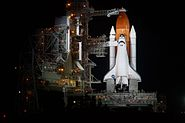STS-134 Shuttle Endeavour sitting on LC-39A shortly after RSS retract