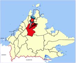Lage von Distrikt und Stadt Ranau