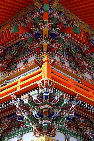 Dougong - Colourful dougong supporting a structure at Sagami-ji, Japan