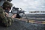 Sailor fires an M249 machine gun during a small arms training. (34532937516).jpg