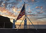 Sailors perform evening colors aboard USS Carl Vinson. (32536592930).jpg