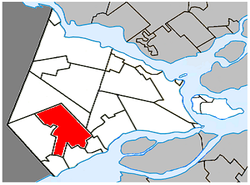 Location within Vaudreuil-Soulanges RCM