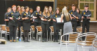 Samuel Whitbread Academy - Members of the school choir singing before Prince Philip at the College of Teachers Awards Ceremony in London in 2016
