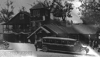 Sandberg, California - The Sandberg Lodge in the 1920s, from an image on the historic marker at the site.