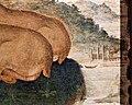 Sandro botticelli, giuditta con la testa di oloferne, sul retro una composizione araldica con cervi e scimmia, 1470 ca. 04 città con barca.jpg