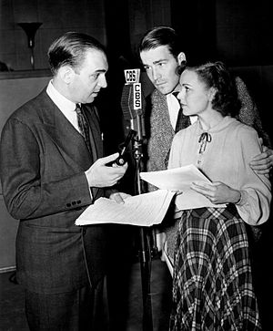 The Adventures of Ellery Queen (radio program) - From left: Santos Ortega as Richard Queen, Hugh Marlowe as Ellery Queen and Marian Shockley as Nikki Porter in 1939.