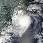 Typhoon Saomai nearing its landfall in China