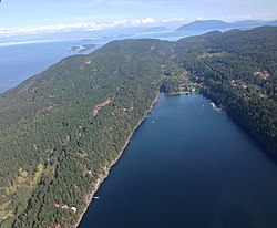 South-facing aerial view of Saturna Island