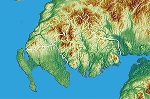 Galloway - Topographic map of southwestern Scotland