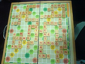 Scrabble - A game of Scrabble in Tagalog