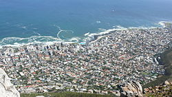 Fresnaye and Sea Point as seen from Lion's Head which surrounds the suburb on the East. Sea Point is to the North and the West separating the suburb from the Atlantic Ocean.