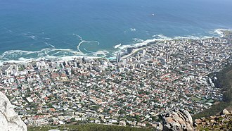 Fresnaye, Cape Town - Fresnaye and Sea Point as seen from Lion's Head which surrounds the suburb on the East. Sea Point is to the North and the West separating the suburb from the Atlantic Ocean.