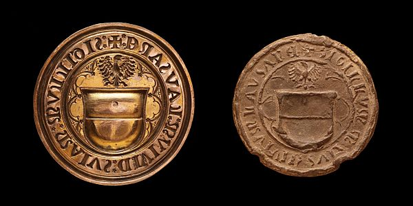 Seal of Lausanne, made by Antoine Bovard in 1525. Made for the combourgeoisie treaty between Lausanne, Bern and Fribourg signed on 7 December 1525.