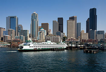 Downtown Seattle, Washington and the Bainbridg...