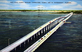 St. Petersburg, Florida - 1969 postcard of the Gandy Bridge by the Hartman Litho Sales Company
