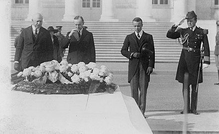 President Calvin Coolidge at the US Tomb of the Unknown Soldier, 1923 Secretary of War John Weeks, Pres. Calvin Coolidge, and Asst. Secretary of the Navy Theodore Roosevelt, Jr., at Tomb of the Unknown Soldier, Armistice Day.jpg