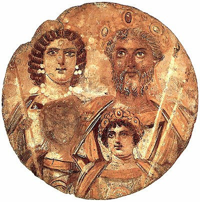 The Severan Tondo, c. 199, Severus, Julia Domna, Caracalla and Geta, whose face is erased Septimusseverustondo.jpg