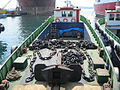 Service boat MARIA - Anchor and chain mounted and ready for placement aboard.jpg
