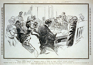 Reed Smoot hearings - Illustration of  Joseph F. Smith giving testimony to Senator George Frisbie Hoar