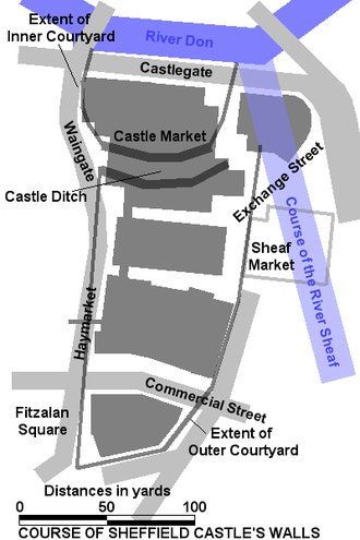 Sheffield Castle - The plan of Sheffield Castle in relation to current buildings.