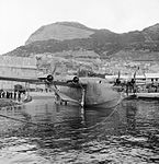 Short Sunderland Mark I, L5798 'KG-B', of No. 204 Squadron RAF is relaunched down the slipway at North Front, Gibraltar.jpg