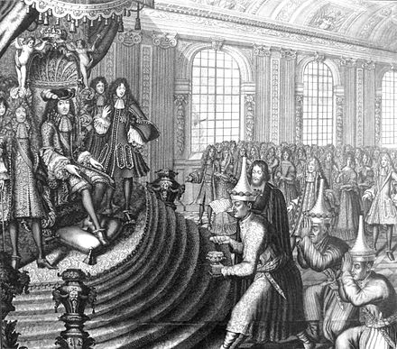 Siamese embassy of King Narai to Louis XIV in 1686, led by Kosa Pan. Engraving by Nicolas Larmessin. SiameseEmbassyToLouisXIV1686NicolasLarmessin.jpg