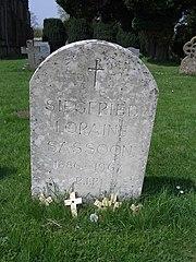 Siegfried Sassoon's gravestone in Mells churchyard