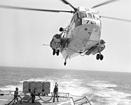 Sikorsky SH-3G Sea King of HC-1 refuels from USS Bagley (FF-1069) on 9 March 1981 (6395673).jpg