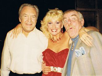 Donald Sinden - Sinden (left) during filming of Never the Twain, with Susie Silvey and Windsor Davies.